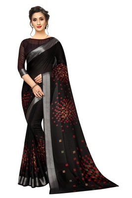 Black woven linen saree with blouse