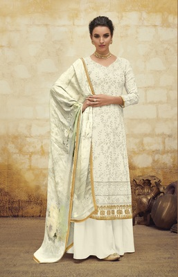 White embroidered faux georgette salwar