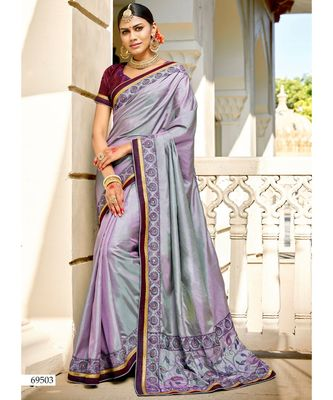purple embroidered cotton silk saree with blouse