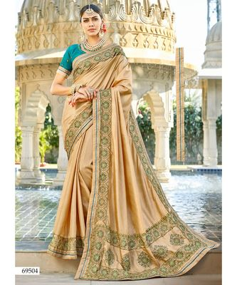 beige embroidered cotton silk saree with blouse