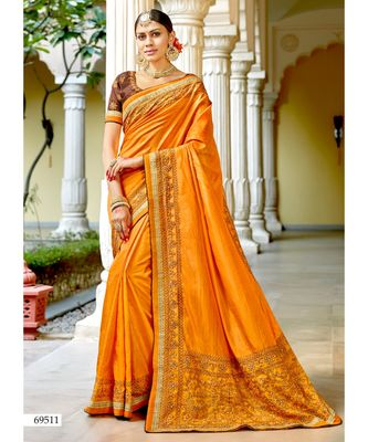 yellow embroidered cotton silk saree with blouse