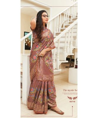 chocolate printed cotton silk saree with blouse