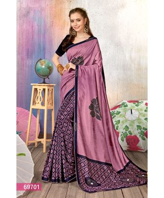 orchid printed cotton silk saree with blouse