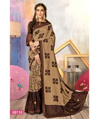 brown printed cotton silk saree with blouse