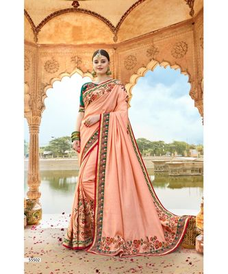 peach embroidered cotton saree with blouse