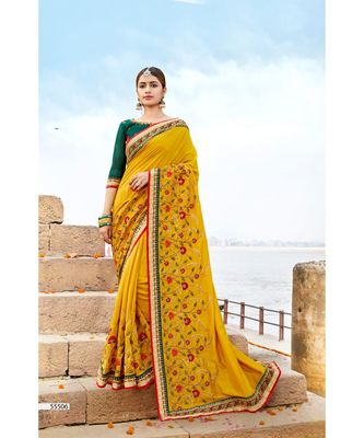 yellow embroidered cotton saree with blouse