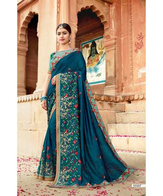 green embroidered cotton saree with blouse