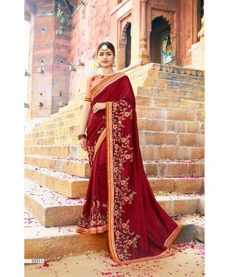 maroon embroidered cotton saree with blouse