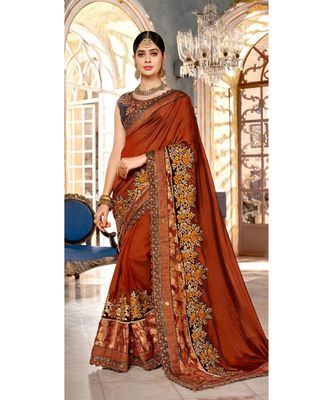 Orange Embroidered Silk Blend Saree With Blouse