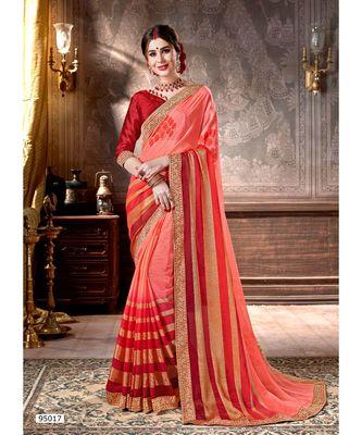 orange printed viscose rayon saree with blouse