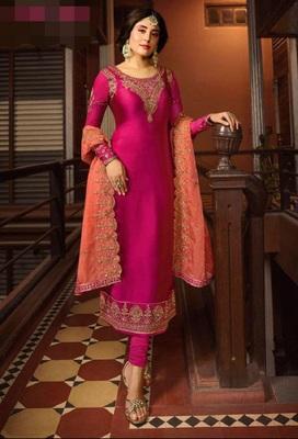 Rani-pink embroidered santoon salwar