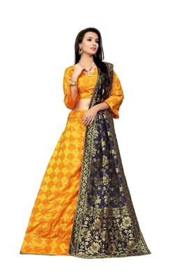 Yellow printed jacquard semi stitched lehenga