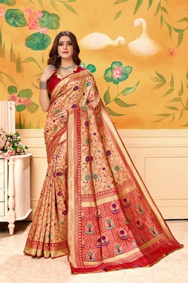 Blood red woven silk blend saree with blouse