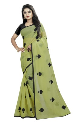 Mehendi embroidered chanderi saree with blouse