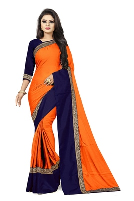 Orange plain faux georgette saree with blouse