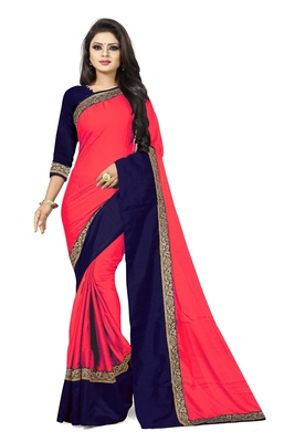 Light red plain faux georgette saree with blouse