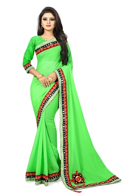 Parrot green woven organza saree with blouse