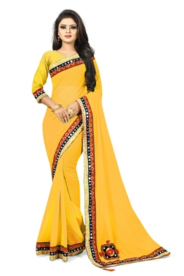 Yellow woven organza saree with blouse