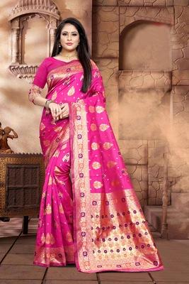 Rani Pink Woven Jacquard Saree With Blouse