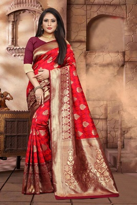 Maroon woven jacquard saree with blouse
