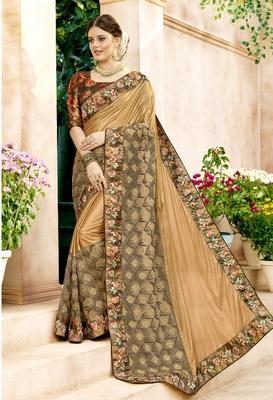 Gold embroidered lycra saree with blouse