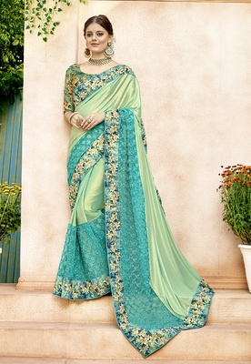 Green embroidered lycra saree with blouse