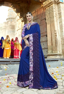 Blue embroidered shimmer saree with blouse