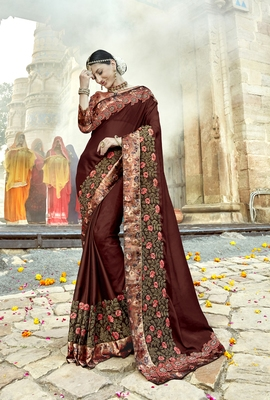 Brown embroidered shimmer saree with blouse