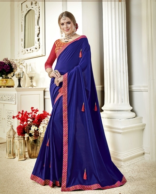 Navy blue embroidered poly silk saree with blouse
