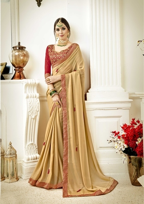Beige embroidered poly silk saree with blouse