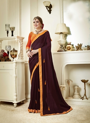 Brown embroidered poly silk saree with blouse