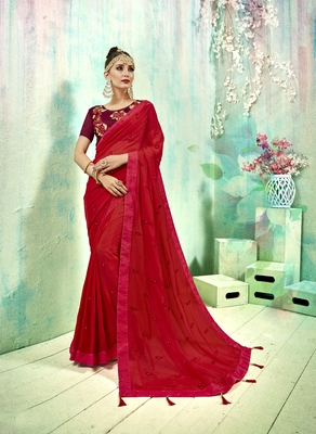 Red embroidered poly silk saree with blouse