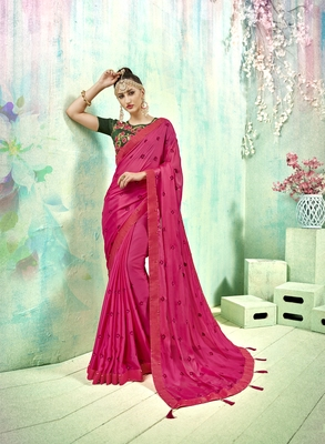 Pink embroidered poly silk saree with blouse