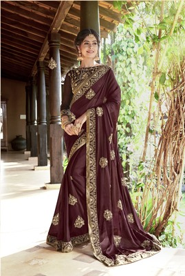 Coffee embroidered georgette saree with blouse