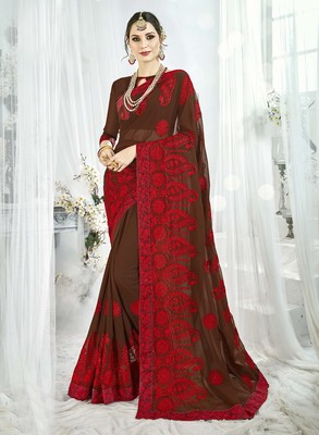 Brown embroidered satin saree with blouse