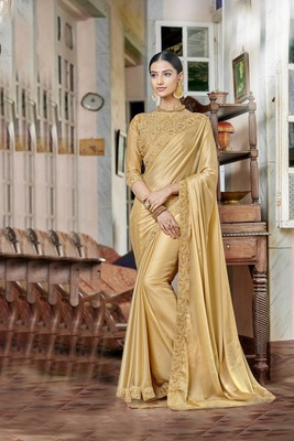Golden embroidered satin saree with blouse