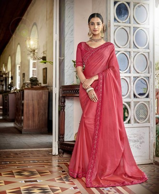 Coral embroidered satin saree with blouse