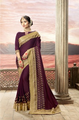 Violet embroidered satin saree with blouse
