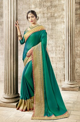 Blue embroidered satin saree with blouse