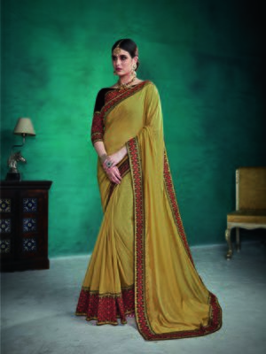 Coffee embroidered satin saree with blouse
