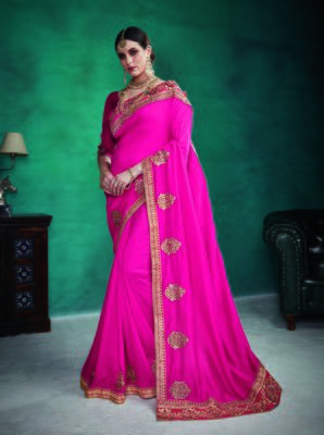 Navy blue embroidered satin saree with blouse