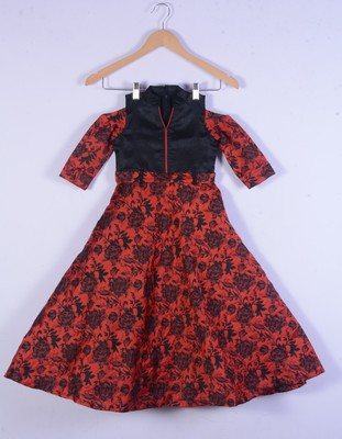 kids red gown set for girl