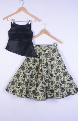 kids black blouse amd golden lahenga choli for girl
