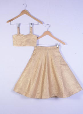 kids golden cotton silk lahenga choli for girl