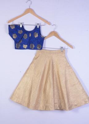 kids royal blue blouse and golden lahenga choli for girl