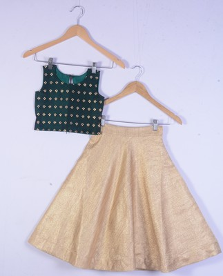 Kids Green Blouse And Golden Lahenga Choli For Girl