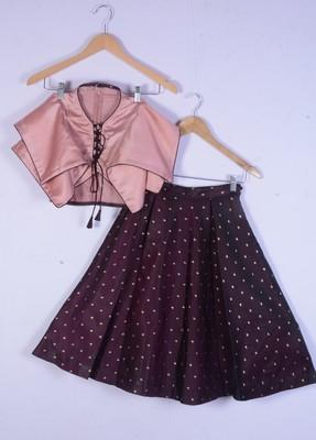 Girl Peach And Maroon Colour Lahenga Choli For Kids