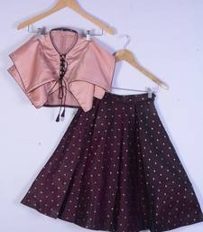 Girl Peach And Maroon Colour Lahenga Choli For Kids
