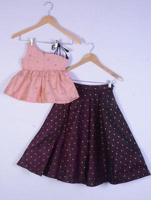 Kids Pink And Maroon Lahenga Choli Set For Girl