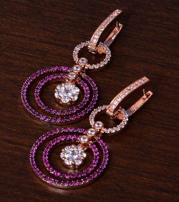 Ruby Embellished Rose Gold Plated American Diamond Earrings 216ED272